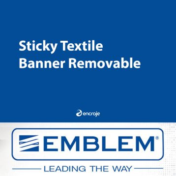 Bannière Textile Polyester EMBLEM Adhésive Réutilisable 190 gr